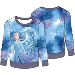 Girls Frozen II Elsa Winter Sparkle Woobie Pullover, Blue