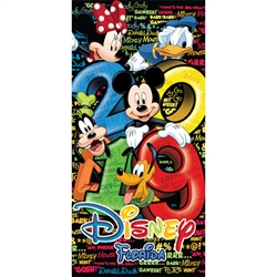 2019 Dated Stack Five Mickey Minnie Goofy Donald Pluto 28x58 Beach Towel, Multi (Florida Namedrop)