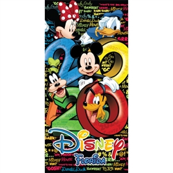 Dated 2020 Stack Mickey Minnie Goofy Donald Pluto 28x58 Beach towel, (Florida Namedrop)