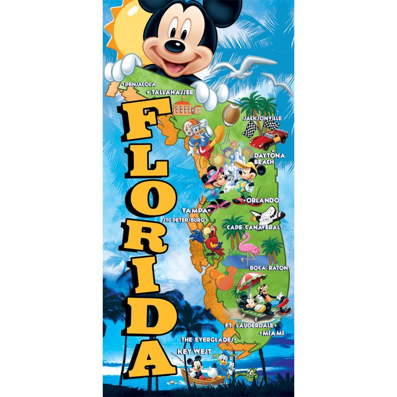 Disney Florida Map.Florida Map Beach Towel Florida Namedrop