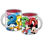 Dated 2020 Numbers Above Mickey Minnie Goofy Donald Pluto 14oz Relief Mug