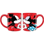 Mickey Minnie Love 14oz Relief Mug, Red