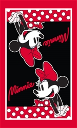 Minnie Dotty Kitchen Towel Single, Red & Black