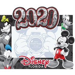 Dated 2020 Comic Mickey Goofy Donald Pluto 4x6 Picture Frame, (Florida Namedrop)