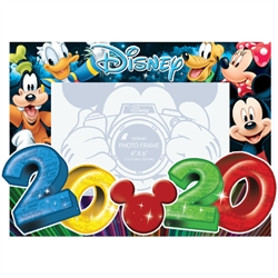 Dated 2020 Big Numbers Mickey Minnie Goofy Donald Pluto 4x6 Picture Frame