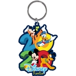 Dated 2020 Hangout Mickey Goofy Donald Pluto Lasercut Keychain, (Florida Namedrop)