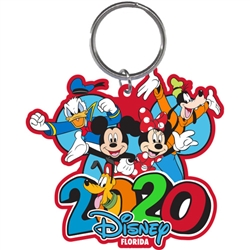 Dated 2020 Burst Mickey Minnie Goofy Donald Pluto Lasercut Keychain, (Florida Namedrop)