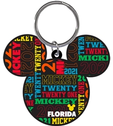 Lasercut Keychain 2021 Mickey Head, (Florida Namedrop)