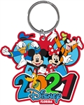 Lasercut Keychain 2021 Burst Fiour Donald Mickey Minnie Goofy