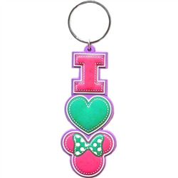 I Heart Minnie Mouse Stack Lasercut Keychain