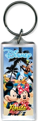 Beach Party Mickey Minnie Donald Goofy Pluto Lucite Keychain (Florida Namedrop)
