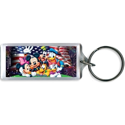 Party in the Usa Mickey Minnie Pluto Goofy Donald Daisy Lucite Keychain, Florida Namedrop