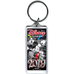 2019 Dated Vintage Pal Mickey Goofy Donald Pluto Lucite Keychain, Multi (Florida Namedrop)