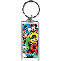 2019 Dated Big Party Mickey Goofy Donald Pluto Lucite Keychain, Multi (No Namedrop)