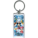 2019 Dated Star Fun Time Mickey Minnie Goofy Donald Pluto Lucite Keychain, Multi (No Namedrop)