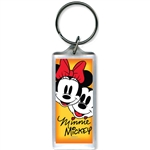 Mickey & Minnie Faces Lucite Keychain