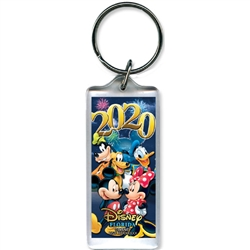 Dated 2020 Party Pals Mickey Minnie Goofy Donald Pluto Lucite Keychain, (Florida Namedrop)