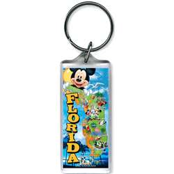 Florida Mickey Map Lucite Keychain (Florida Namedrop)