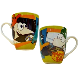 Phineas and Ferb with Perry Barrel Porcelain Mug