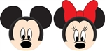 Mickey Mouse and Minnie Mouse Faces Antenna Toppers