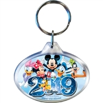 2019 Dated Sixers Group Mickey Minnie Daisy Goofy Donald Pluto Oval Keychain, Multi (Florida Namedrop)