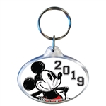 2019 Dated Original Big Mickey Oval Keychain, White Black (No Namedrop)