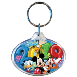 2019 Dated Fireworks Fiesta Mickey Goofy Donald Pluto Oval Keychain, Multi (No Namedrop)