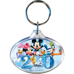 Dated 2020 Sixers Mickey Minnie Daisy Goofy Donald Pluto Oval Keychain, Lucite (Florida Namedrop)