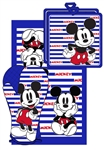 Mickey Mouse Stripes 3pc Kitchen Towel Set, Blue & White