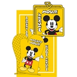3pc Kitchen Towel Set Mickey Mouse, Yellow (Oven Mitt, Dish Towel, Pot Holder)