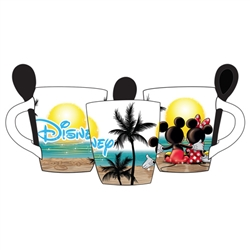 Mickey Minnie Sunset Gazers 11oz Mug w/Spoon, Multi