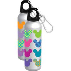 Mickey Mouse Icon Heads Pop Colors Aluminum Water Bottle - Wide Mouth, Silver