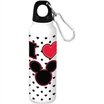 Mickey Heart Aluminum Bottle Wide Mouth, White