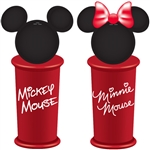 Mickey Minnie Name Salt & Pepper Shakers, Red Black