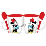 3 Minnie Waves Espresso Mug w/Spoon, White Red