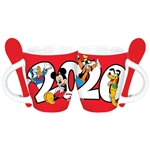 Dated 2020 Retro Mickey Goofy Donald Pluto Espresso Mug, Red White