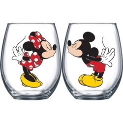 Mickey Kissing Minnie Stemless Glass 2pc Set