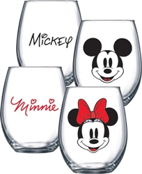 Mickey Minnie Faces Stemless Glass 2pc Set