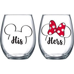 """His"" and ""Hers"" Mickey & Minnie Outline Stemless Glass"