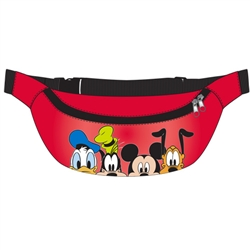 Belly Bag 4 Face Donald Goofy Mickey Pluto, Red