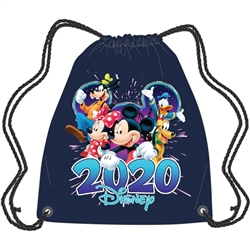 Dated 2020 Fabulous Group Mickey Minnie Donald Goofy Pluto String Tote, Navy Blue