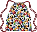 Drawstring Tote Fab 5 Mickey Pluto Donald Goofy Minnie, White