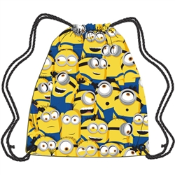 Drawstring Tote Minions Scattered All Over Print, Yellow White