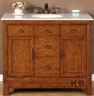 High Quality 42 Cherry Bathroom Vanity With Marble Stone Top Single Sink