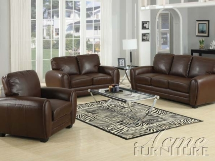 Amber Brown Bonded Leather Sofa Set