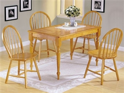 Natural/ White Solid Wood Dining Table Set