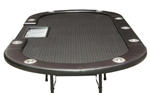 Folding Black Leather Texas Holdem Poker Table With 10 Seat And Trays