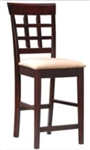 "Cappuccino Finish 24"" Wheat Back Bar Stool with Fabric Seat"