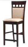 "Cappuccino Finish 24"" Upholstered Panel Back Bar Stool with Fabric Seat"