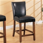"Black 24"" Faux Leather Bar Stool With Warm Wood Finish"